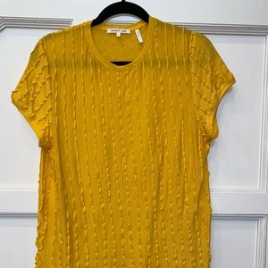 Helmet Lang yellow light ruffle shirt